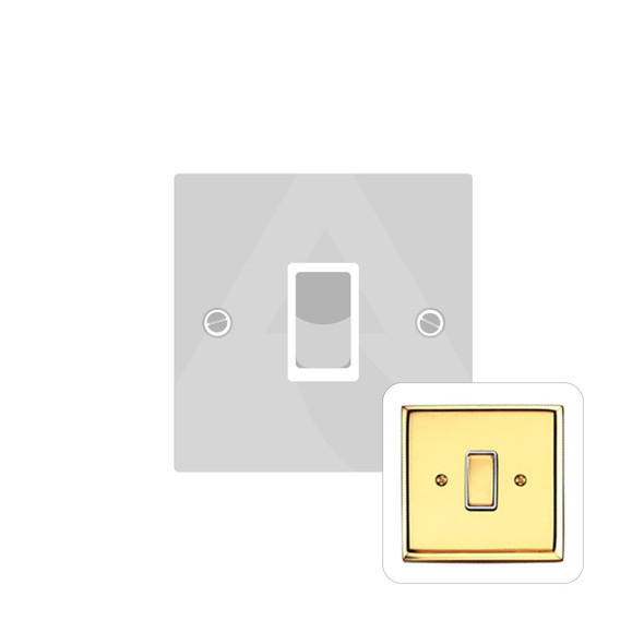 Contractor Range 1 Gang Switch (6 Amp) in Polished Brass - White Trim - K991W