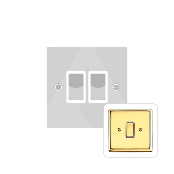 Contractor Range 2 Gang Switch (6 Amp) in Polished Brass - White Trim - K992W