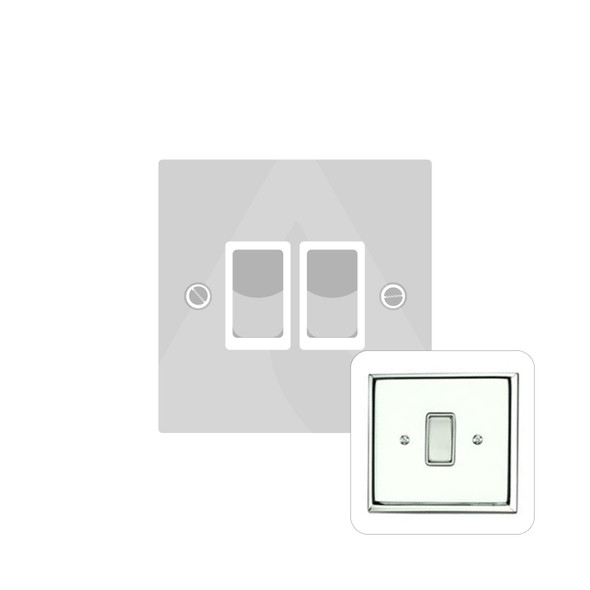 Contractor Range 2 Gang Switch (6 Amp) in Polished Chrome - White Trim - KC992W