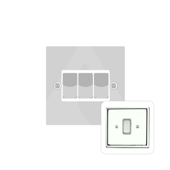 Contractor Range 3 Gang Switch (6 Amp) in Polished Chrome - Black Trim - KC993BN