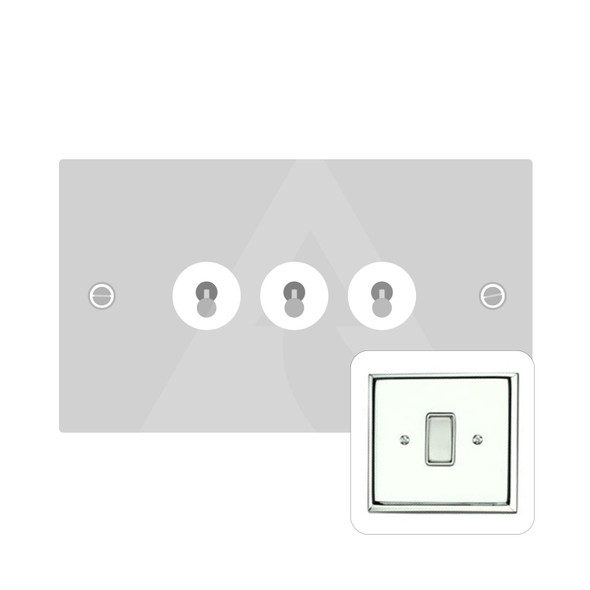 Harmony Grid Range 3 Gang Dolly Switch in Polished Chrome - Trimless - KC1420PC