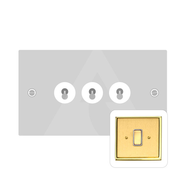 Contractor Range 3 Gang Dolly Switch in Satin Brass - Trimless - M1420SB