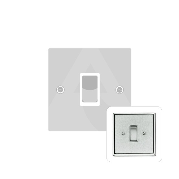 Contractor Range 1 Gang Switch (6 Amp) in Satin Chrome - White Trim - P991W
