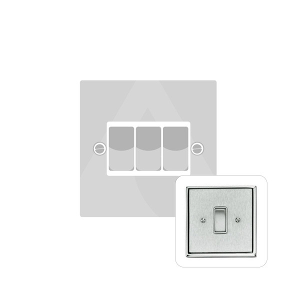 Contractor Range 3 Gang Switch (6 Amp) in Satin Chrome - White Trim - P993W