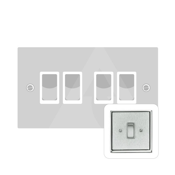 Contractor Range 4 Gang Switch (6 Amp) in Satin Chrome - White Trim - P994W