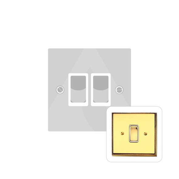 Contractor Range 2 Gang Switch (6 Amp) in Polished Brass - Black Trim - A992BN