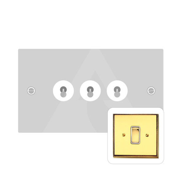 Harmony Grid Range 3 Gang Dolly Switch in Polished Brass - Trimless - A1420PB