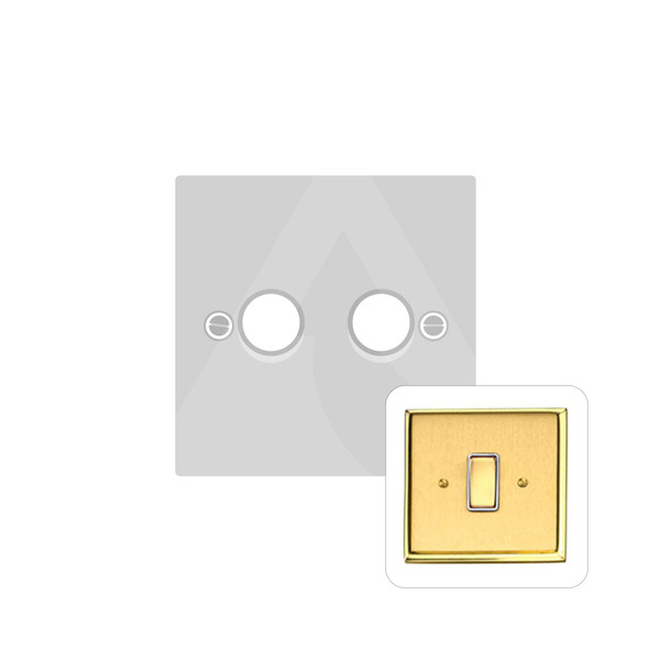 Harmony Grid Range 2 Gang Trailing Edge Dimmer in Satin Brass - Trimless - M570/TED