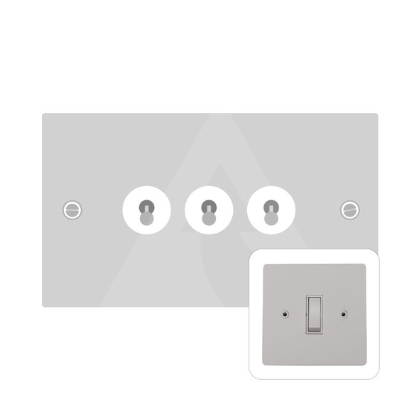 Primed White (Paintable) Range 3 Gang Dolly Switch in Primed White - White Trim - PW.420.PC