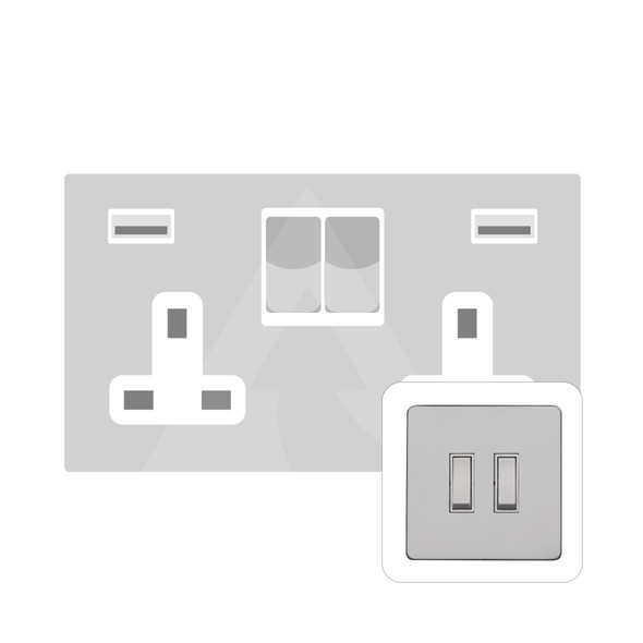 Primed White (Paintable) Range Double USB Socket (13 Amp) in Primed White - White Trim - YPW.555.W-USB
