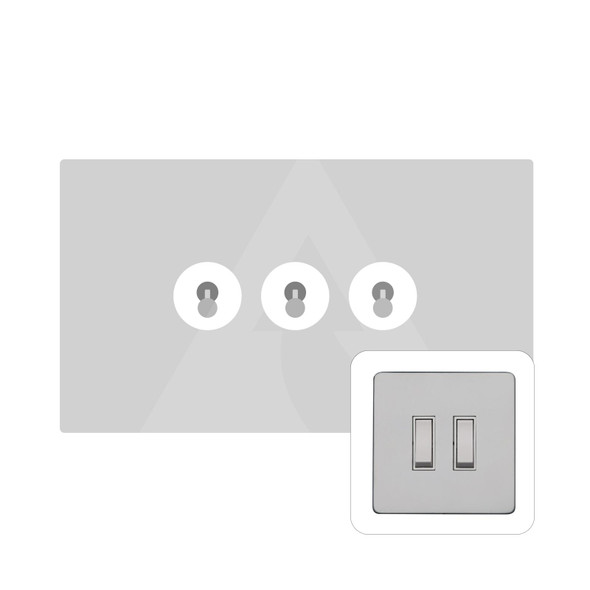 Primed White (Paintable) Range 3 Gang Dolly Switch in Primed White - White Trim - YPW.420.PC