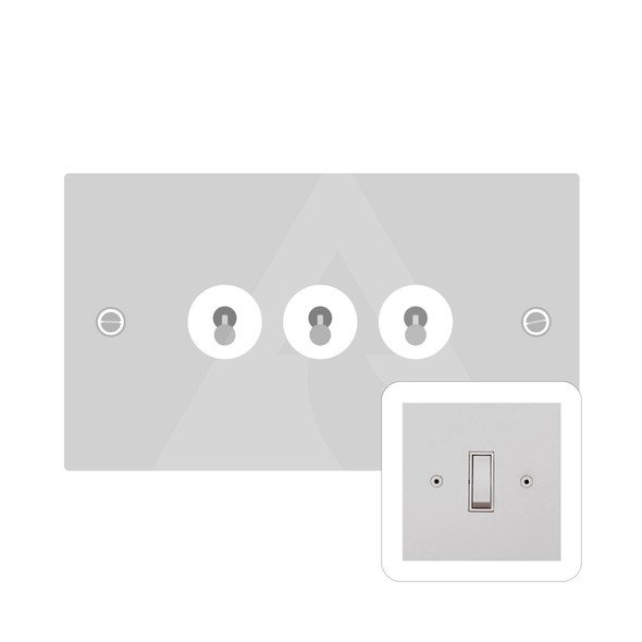Primed White (Paintable) Range 3 Gang Dolly Switch in Primed White - White Trim - QPW.420