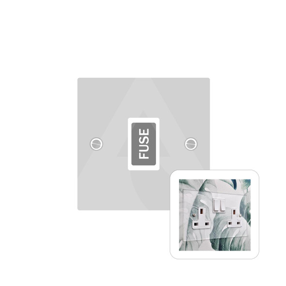Clarity Perspex Range Unswitched Spur (13 Amp) in Clear Perspex - White Trim - PPX.650.W