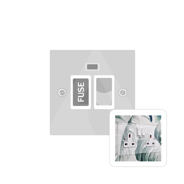 Clarity Perspex Range Switched Spur with Neon (13 Amp) in Clear Perspex - White Trim - PPX.666.W