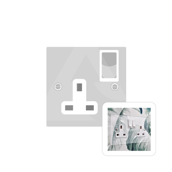 Clarity Perspex Range Single Socket (13 Amp) in Clear Perspex - White Trim - PPX.540.W