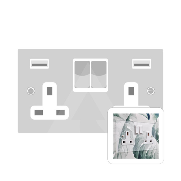 Clarity Perspex Range Double USB Socket (13 Amp) in Clear Perspex - White Trim - PPX.555.W-USB