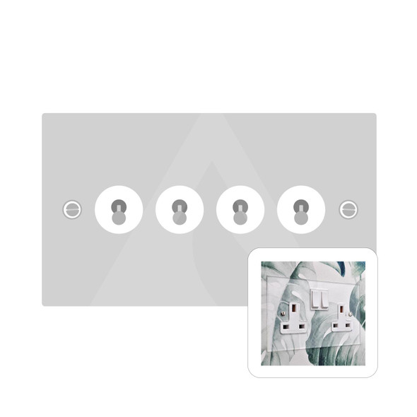 Clarity Perspex Range 4 Gang Dolly Switch in Clear Perspex - White Trim - PPX.430.PC