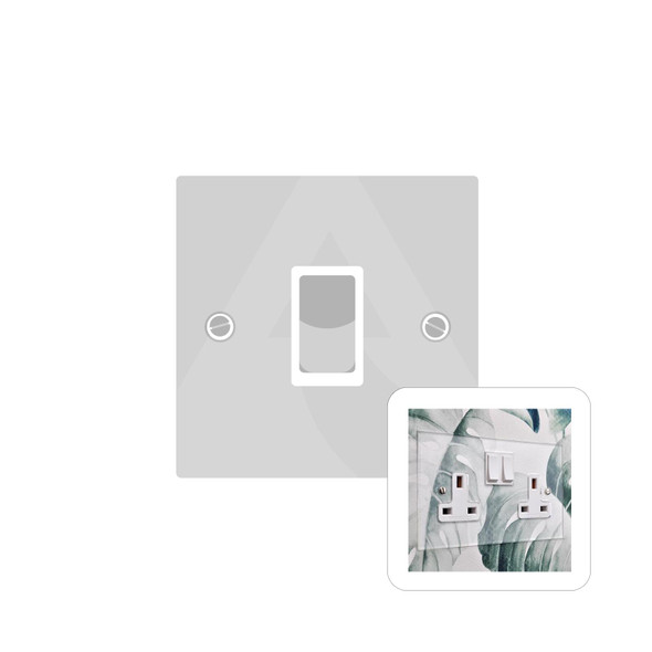 Clarity Perspex Range 1 Gang Intermediate Switch (20 Amp) in Clear Perspex - White Trim - PPX.501.W
