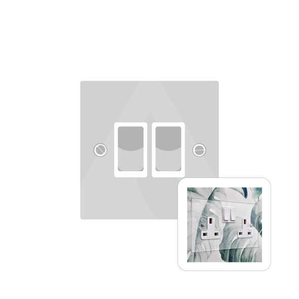 Clarity Perspex Range 2 Gang Switch (20 Amp) in Clear Perspex - White Trim - PPX.510.W