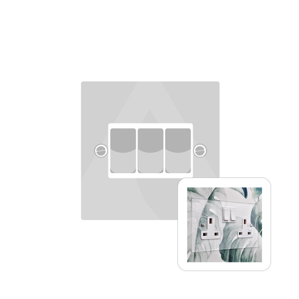 Clarity Perspex Range 3 Gang Switch (20 Amp) in Clear Perspex - White Trim - PPX.520.W