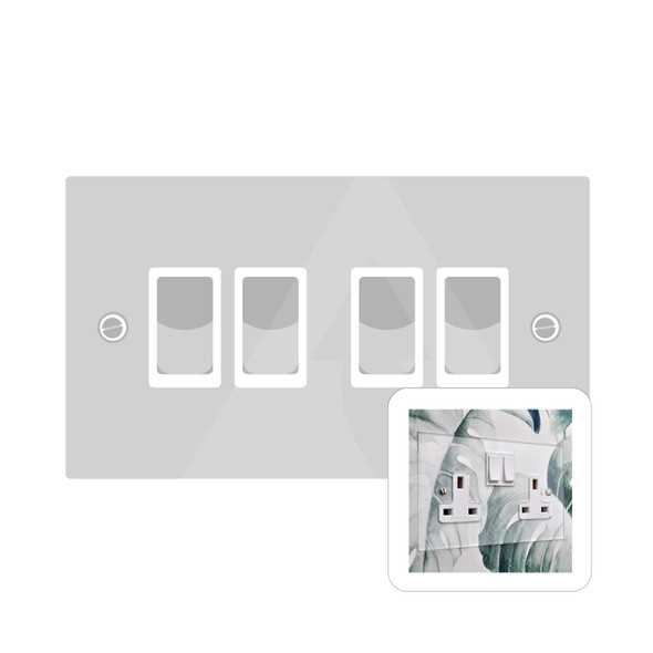 Clarity Perspex Range 4 Gang Switch (20 Amp) in Clear Perspex - White Trim - PPX.530.W