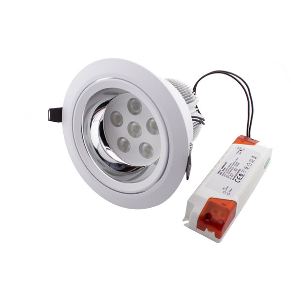 Adjustable 18W Dimmable High Power LED Downlight in Matt White 4000K Natural White