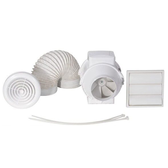 In-Line Mixed Flow Shower Fan Kit with Timer and LED Light