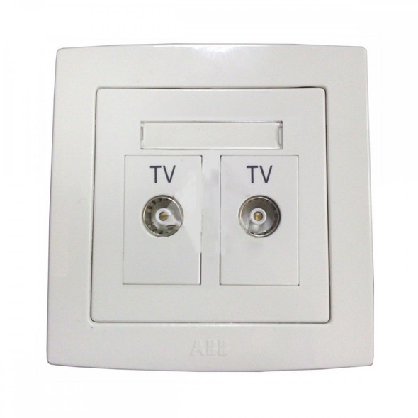Concept BS 2 Gang TV Outlet Twin Isolated Socket in White Finish