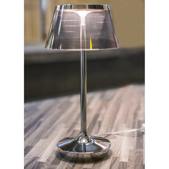 Modern 7w LED Table Lamp in Chrome & Transparent Smoke Shade 3000K