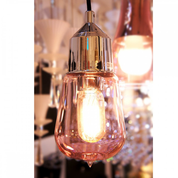 Pink Retro Bulb Glass Shade Ceiling Pendant Light in Chrome