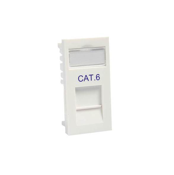 CAT6 RJ45 Euro Module in White Finish