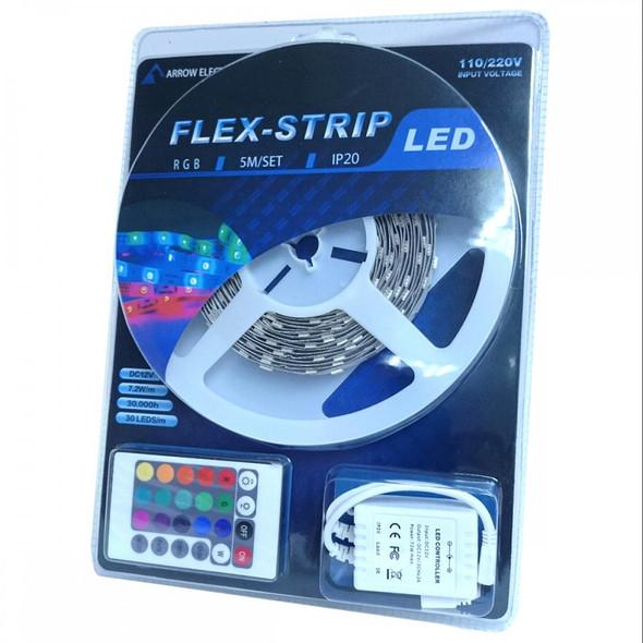 12v 5m Complete RGB LED Strip Lighting Kit + Remote - Plug and Play
