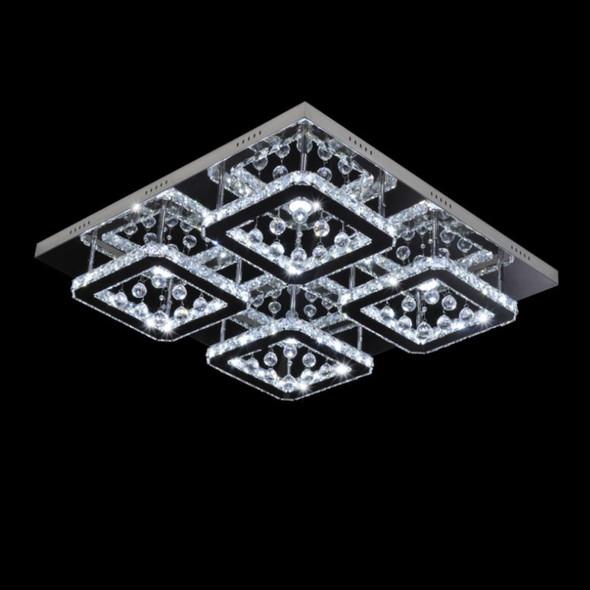 Modern Square LED Crystal Droplet Flush Ceiling Light 100w in Chrome