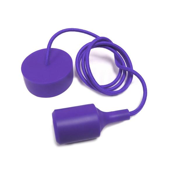 Retro Style Coloured Ceiling Rose Pendant Kit in Purple