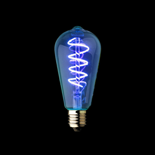 Blue Vintage Spiral Filament LED Lamp Cone Shape 4 Watts E27