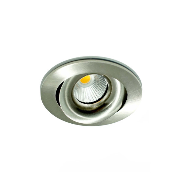 Tiltable 10W Dimmable LED Downlight 3000K IP65 & Fire Rated in Satin Nickel Low Profile