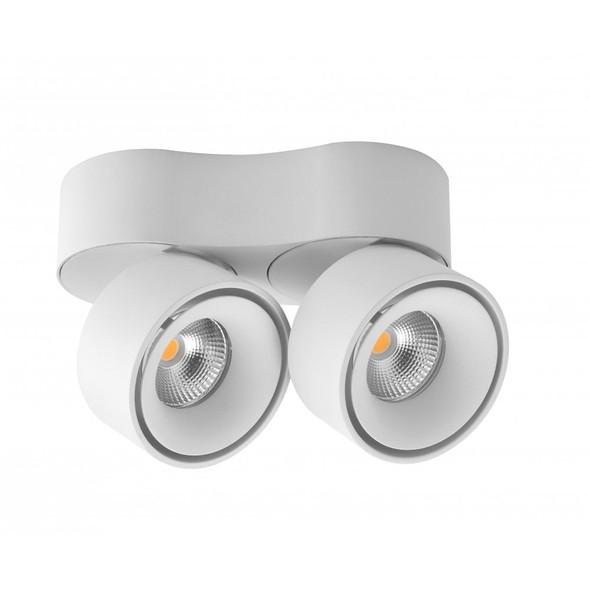 Arrow Modern Double 2 x 10W LED Dimmable LED Downlight in Matt White 3000K Warm White