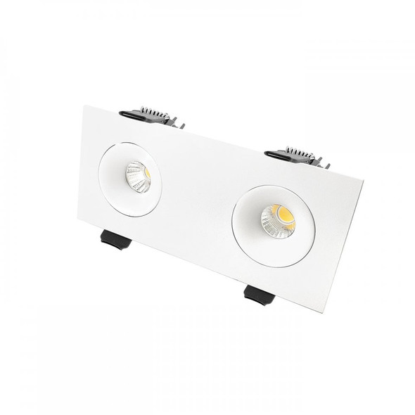 Twin Mini Square 15W Dimmable LED Downlight 4000K IP65 & Fire-Rated in Matt White