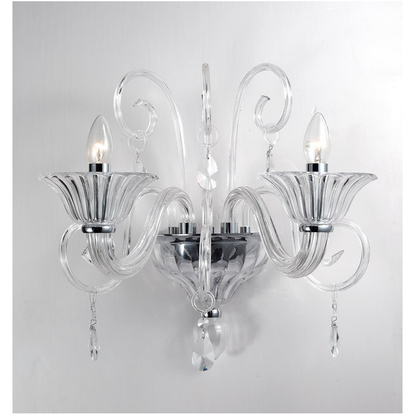 Ornate 2 Light Crystal Wall Light Fitting in Clear Glass