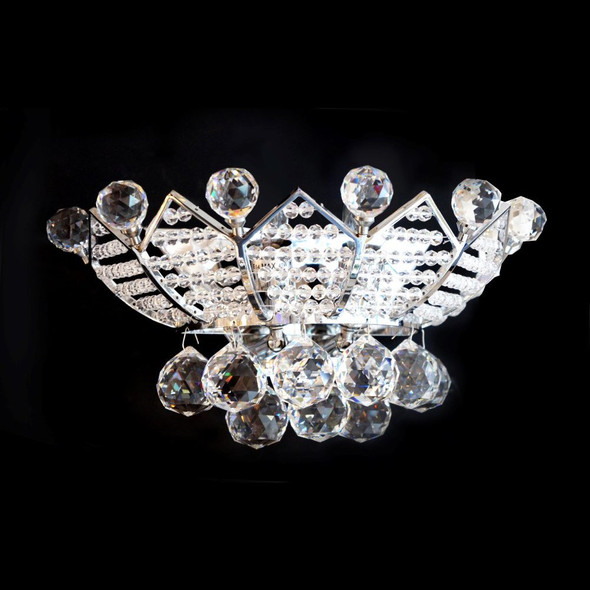 2 Light Crystal Wall Light fitting in Chrome with Droplets