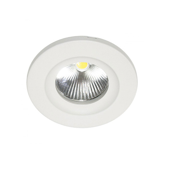 10W Dimmable LED Downlight with Interchangable Bezel 3000K IP65 & Fire Rated in Matt White