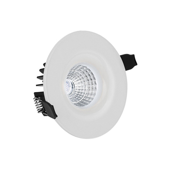 Fixed 10W Dimmable LED Downlight 4000K IP65 Rated in Matt White Low Profile