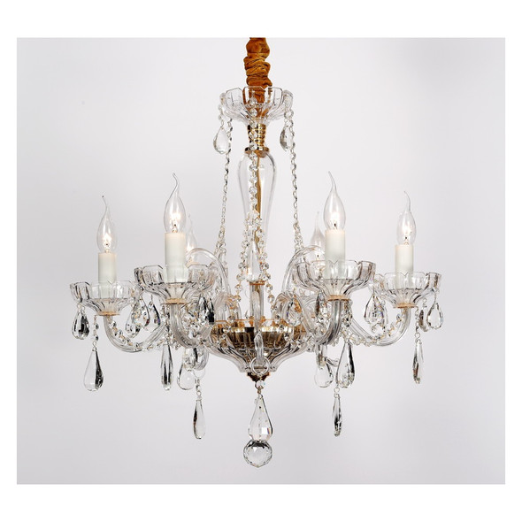 Decorative 6 Arm Pendant Crystal Chandelier in Clear & Gold