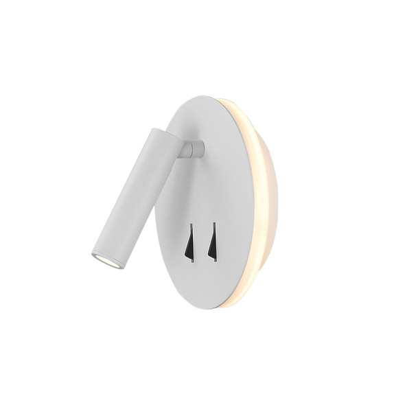 Round Switched LED Wall/Reading Light in Matt White