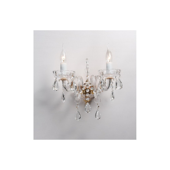 2 Light Crystal Wall Light Fitting in Clear Glass & Gold