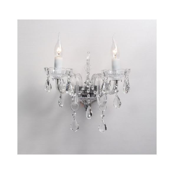2 Light Crystal Wall Light Fitting in Clear Glass