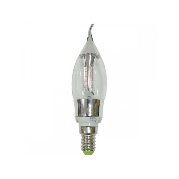 4 Watt E14 3000K Neutral White Clear Candle French Flame LED bulb