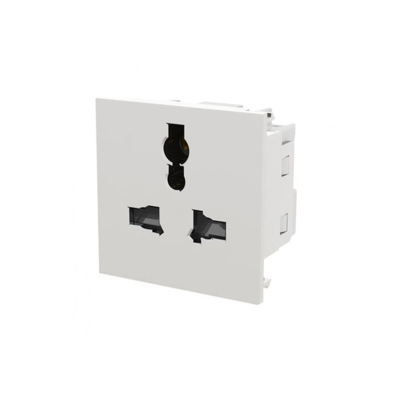 EMUNVW Euro Module 13 Amp Universal Power Socket in White