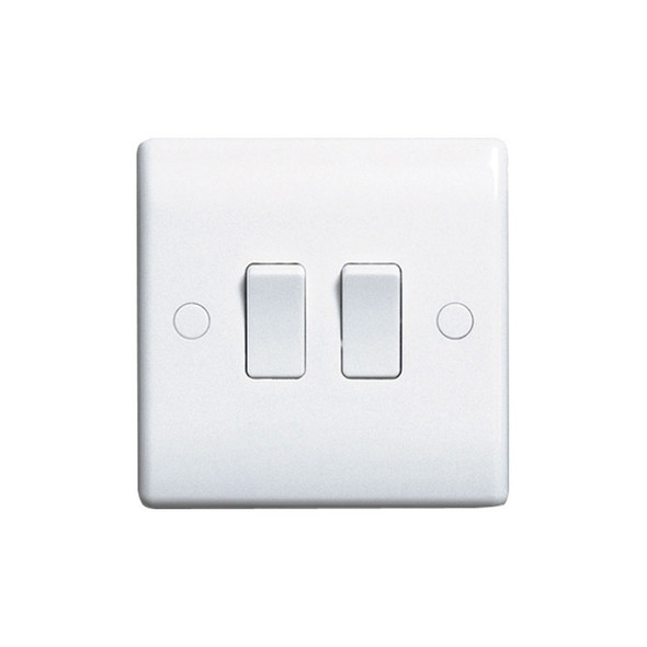 Nexus White Moulded 842 2 Gang 2 Way Single Plate Switch