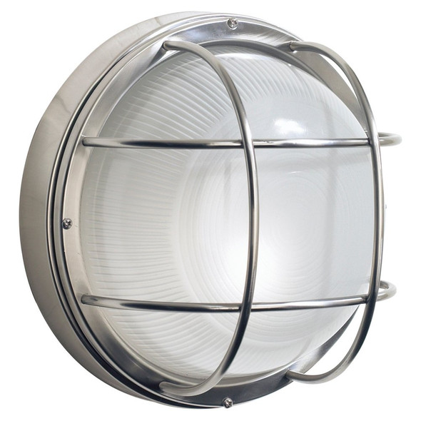 Salcombe Outdoor Large Round Bulkhead Wall Light Stainless Steel